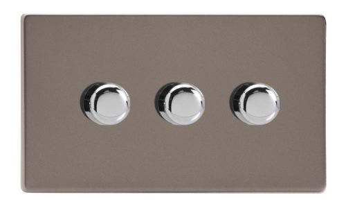 Varilight JDRDP303S Screwless Pewter 3 Gang 2-Way Push On/Off LED Dimmer 0-120W V-Pro